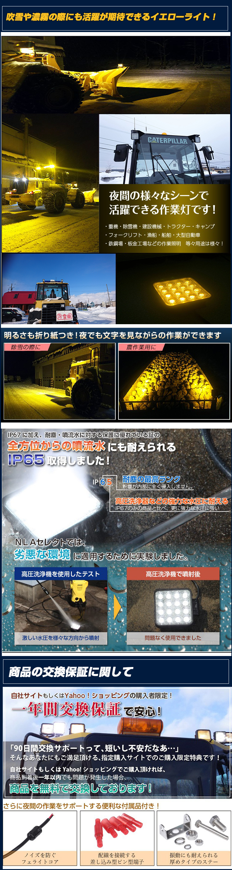 48w作業灯・黄色の商品説明2