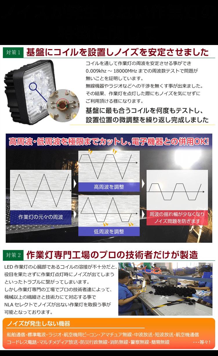48W作業灯・ノイズレス機能の紹介