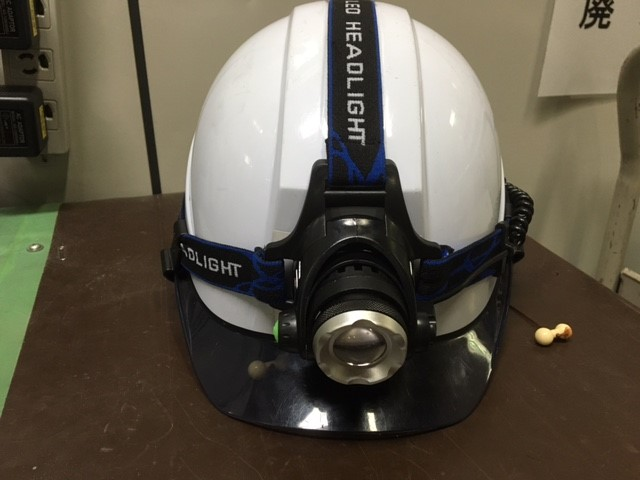 ヘルメットライト装着時
